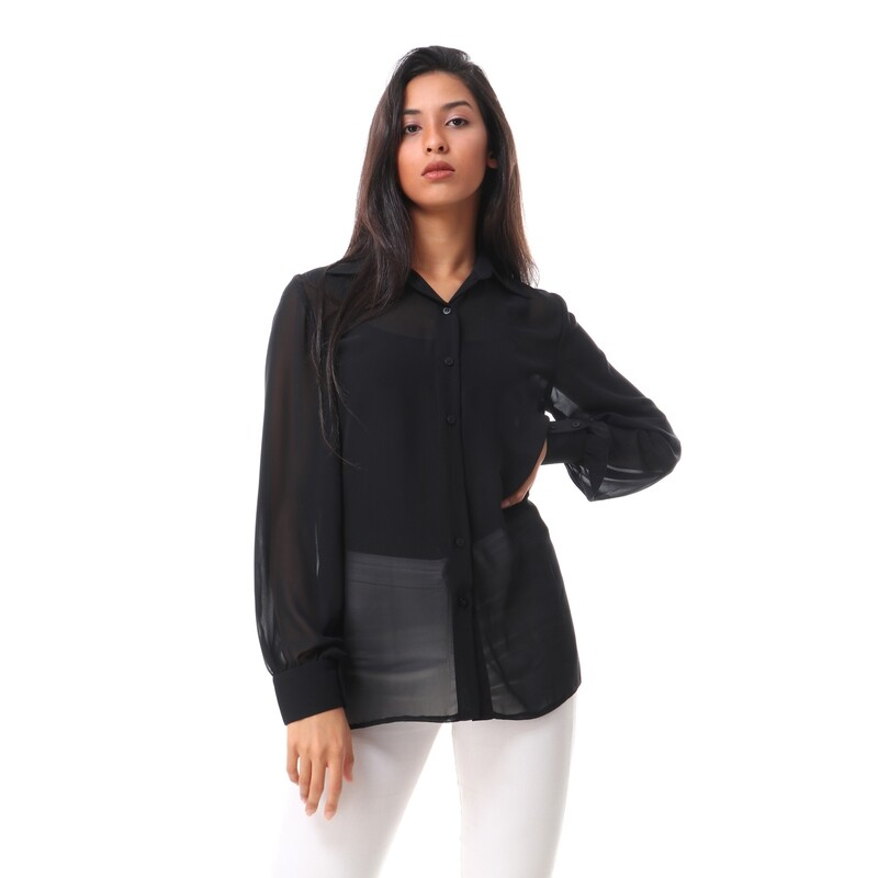 8498 Soiree blouse  - Black