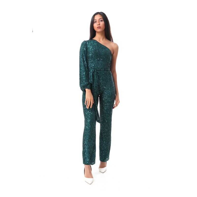 8494 Soiree Jump Suit- Dark Green