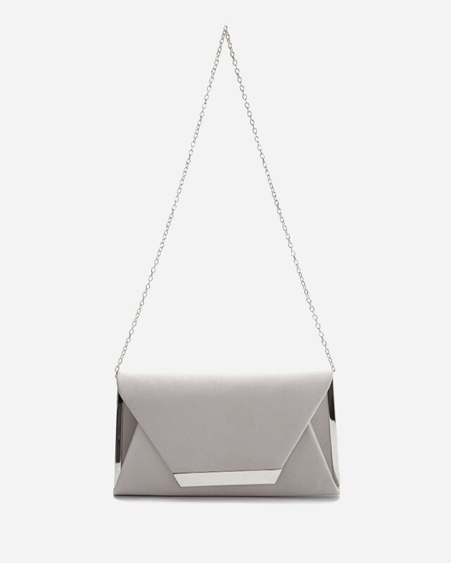 4053 Satin Clutch Bag - silver
