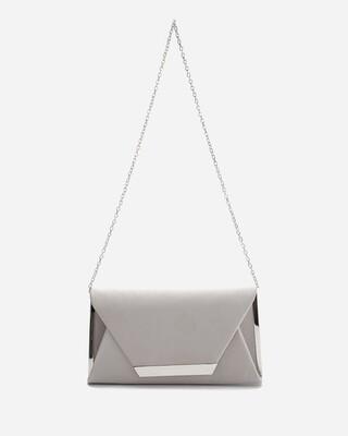 4053 Satin Clutch Bag - silver