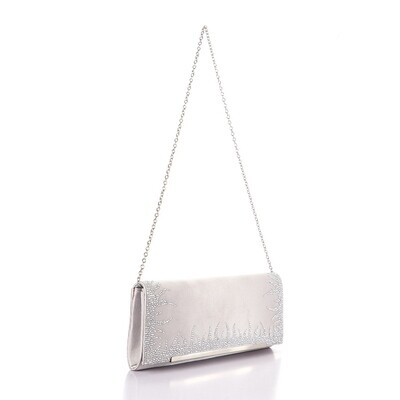 4034 Satin Clutch Bag - Silver