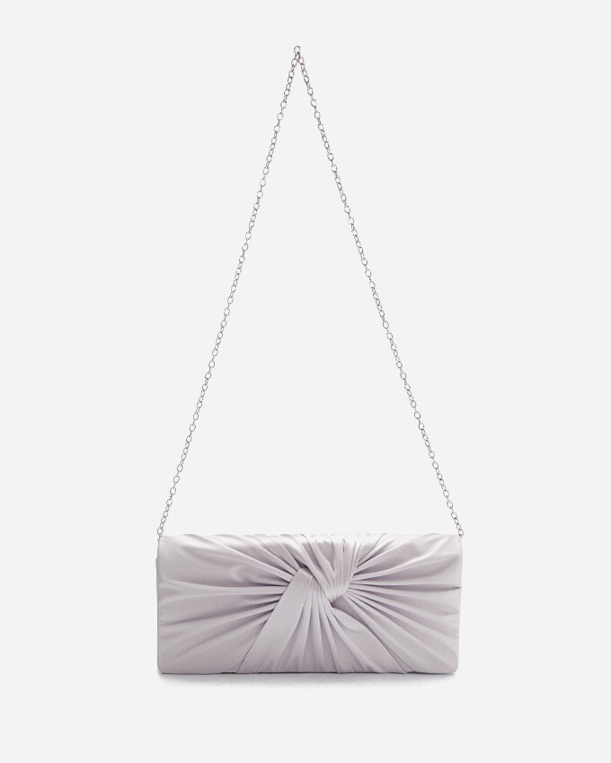 4054 Satin Clutch Bag - Silver
