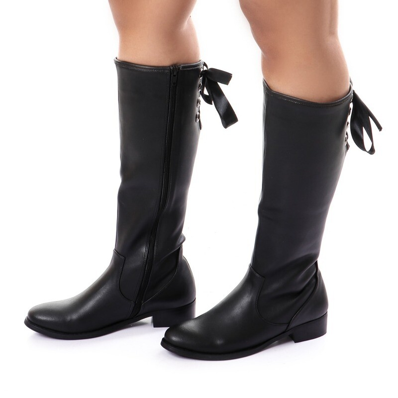 3740- Leather Boot - Black