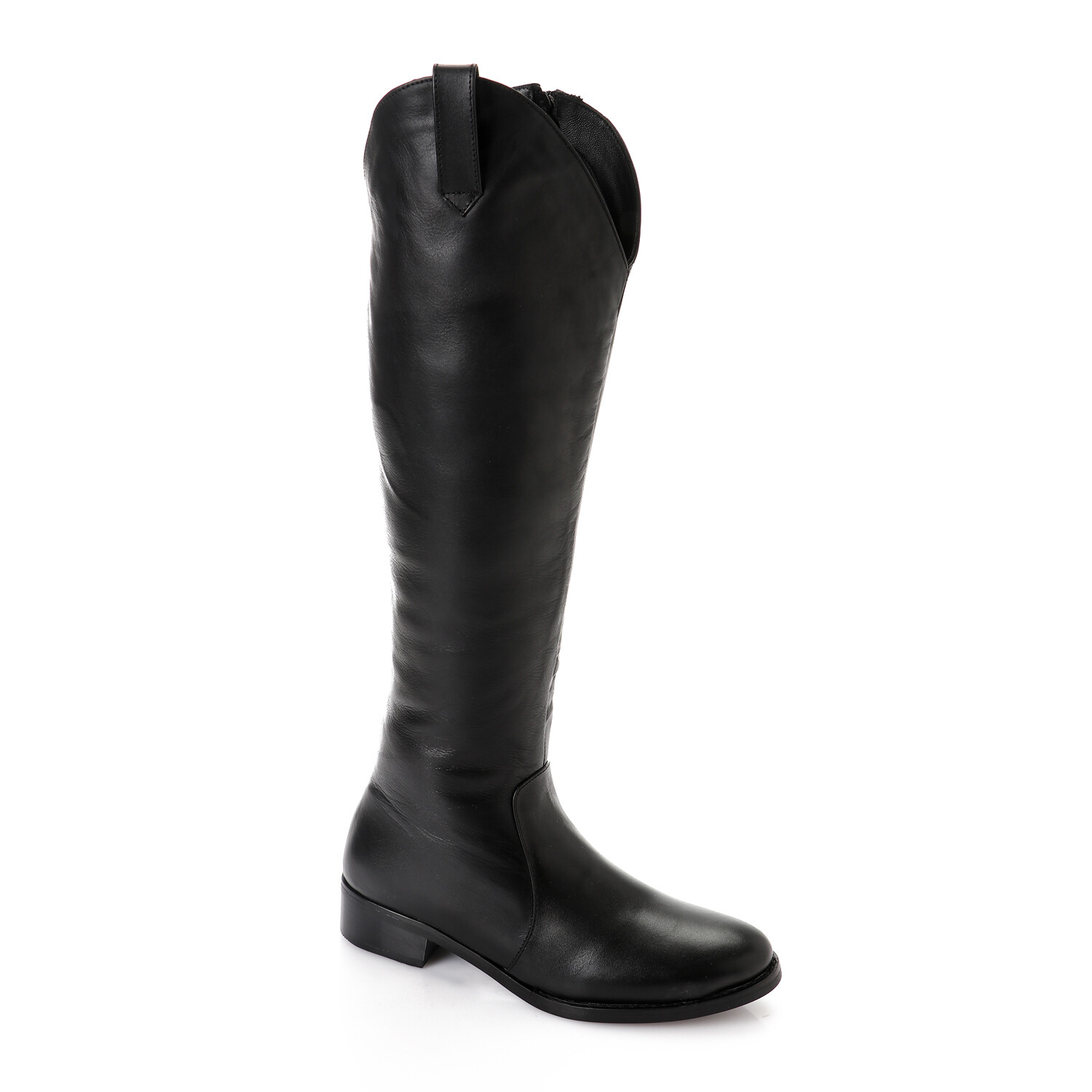 3762- Leather natural Boot - black