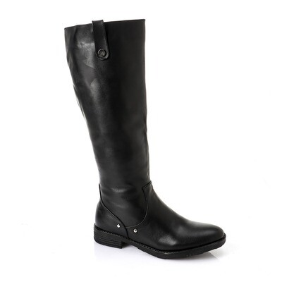 3746 Knee High Boot - Black -جلد طبيعي