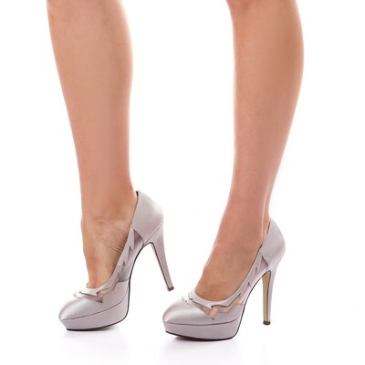 3598 Heeled satin Pumps - silver