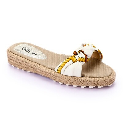 3373 Slippers white*Gold