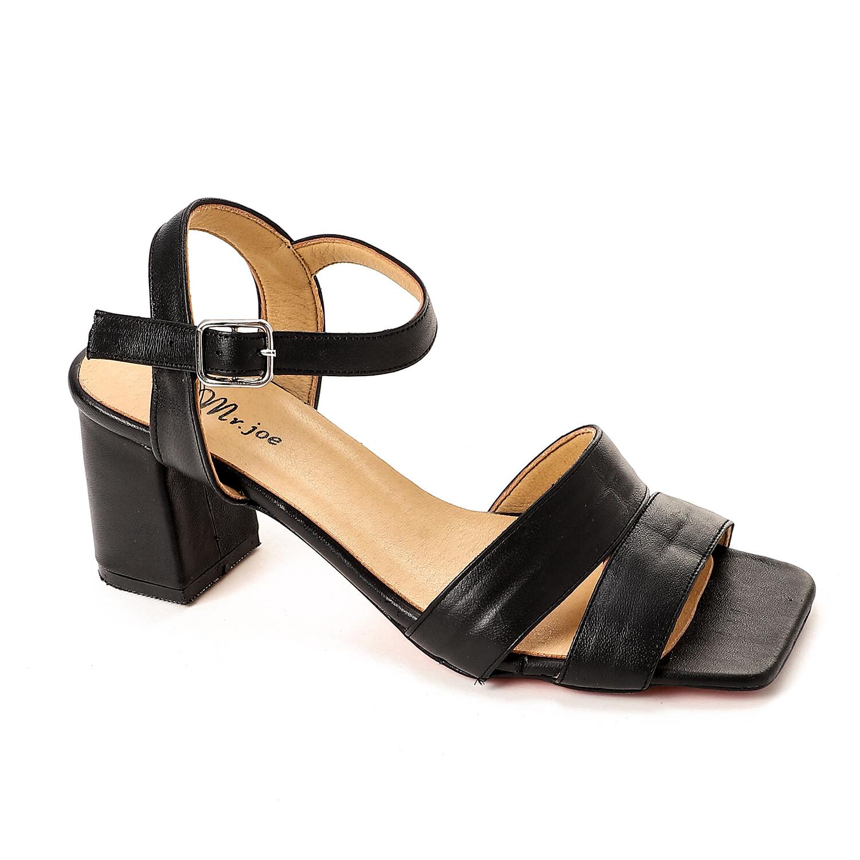 3804 Sandal - black جلد طبيعى