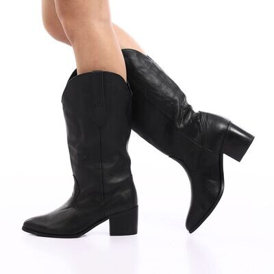 3902  Leather natural  Boot -Black