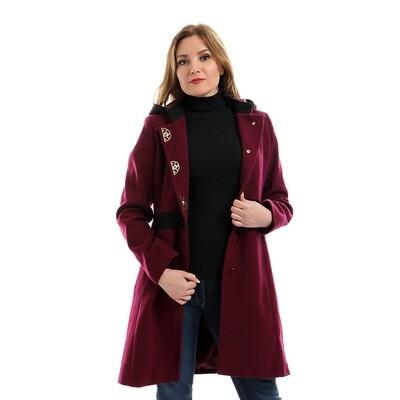6793 Coat - Burgundy