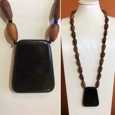 ​California Digger Pine Nut necklace with a Blk Onyx Pendant.​