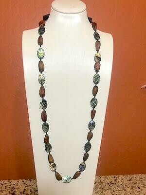 Abalone Shell & Indigenous Digger Pine Nut Beaded Necklace
