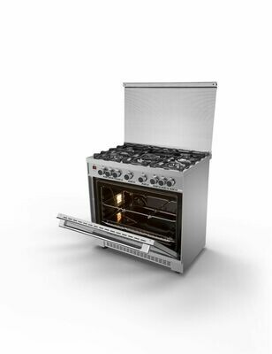 Kiriazi Oven Premiere Smart 5 Burners Stainless Steel 90FC9 -  Cylinder Gas