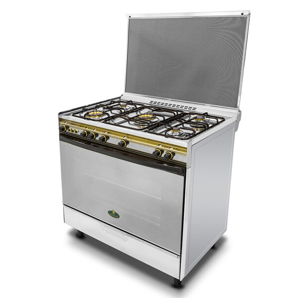 Kiriazi Oven 5 Burners 8900 - 2  Big Burners - Stainless Steel فرن 5شعلات 8900 - 3شعلات غاز 2شعلة سوبر