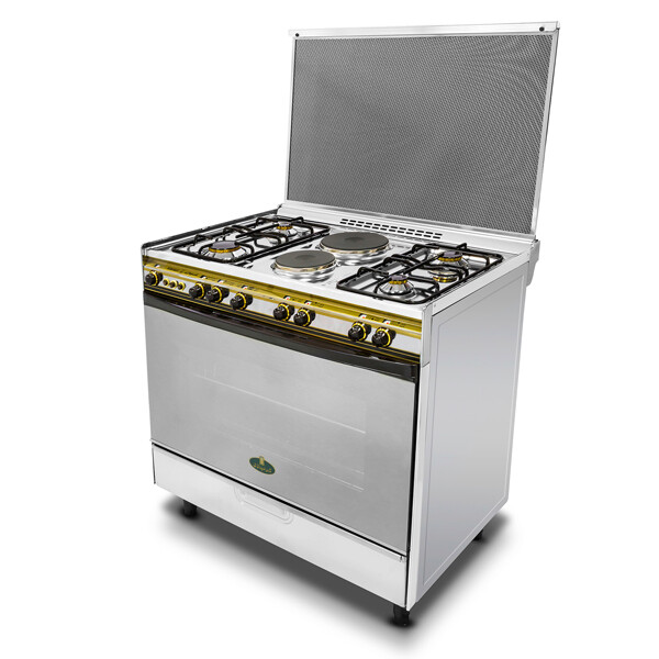 Kiriazi Oven 6 Burners 8900 -  Two Hot Plates - Stainless Steel