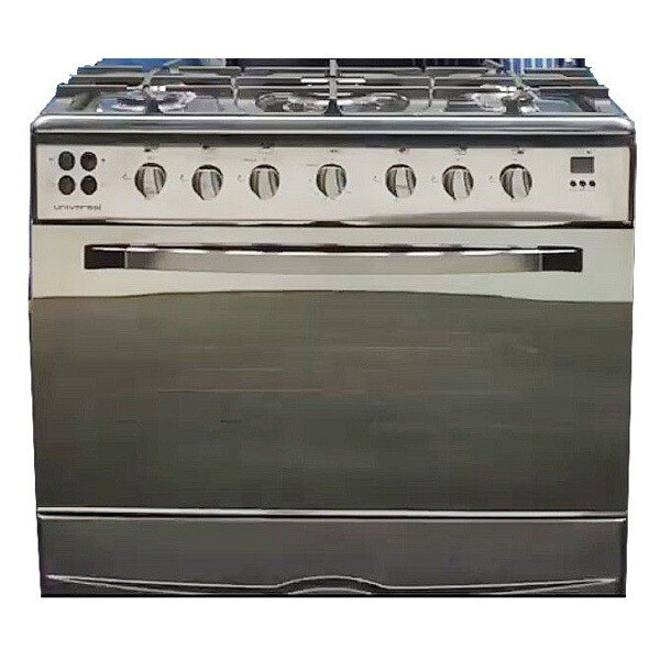 Universal Iron Cook 5 Burners Stainless Steel Cooker - Silver بوتجاز يونيفرسال ايرون كوك 5 شعلة ستانليس ستيل - فضي