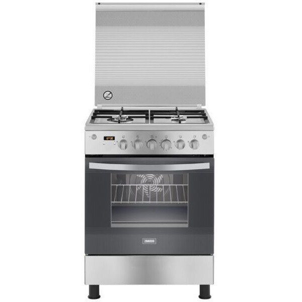 Zanussi Freestanding Digital Gas Cooker, 4 Burners - ZCG64396XA بوتجاز غاز زانوسي، 4 شعلة، ستانلس ستيل