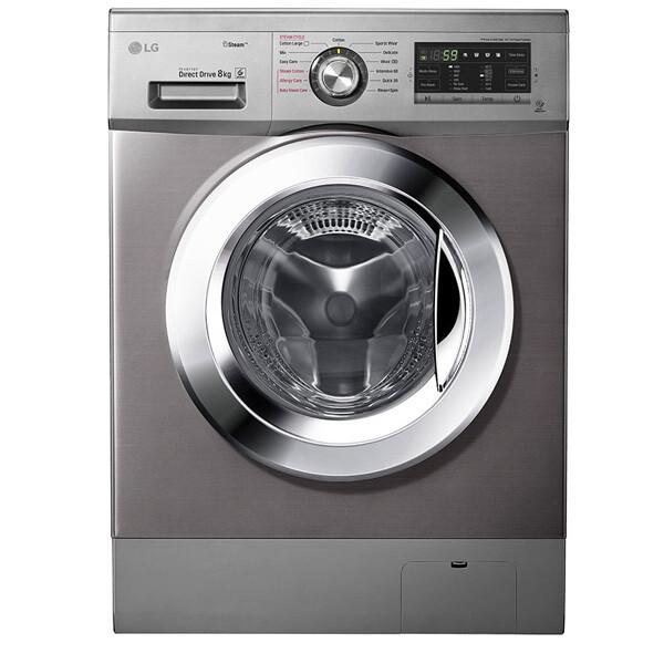 LG Front Loading Digital Washing Machine, 8 KG, Silver - FH4G6TDY6 غسالة ملابس ديجيتال تحميل امامي ال جي، سعة 8 كيلو، فضي