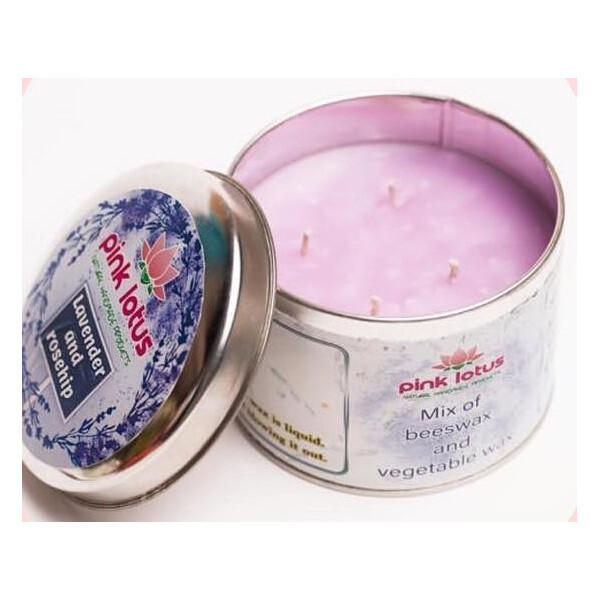Candle in Tin Lavender & Rosehip