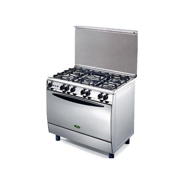 Kiriazi  9604F Oven  - 5 Burners -  Full Safety  -  Iron Cast  with Fan - Stainless Steel