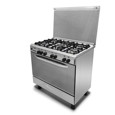 Kiriazi Oven - 5 Burners - Full Safety -  Digital with  Fan  - Stainless Steel - King
