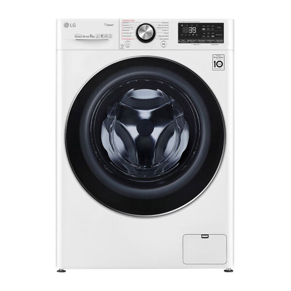 LG Vivace Front Load Automatic Washing Machine, 8 KG, White- F4R5TYG0W غسالة ملابس اتوماتيك ال جي فيفاتشي، تحميل امامي، 8 كيلو، ابيض