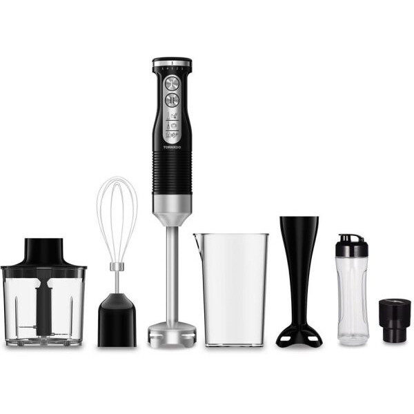 TORNADO Hand Blender 600 Watt With Stainless Steel Whisk in Black Color THB-600C خلاط يدوى تورنيدو 600 وات مزود بمضرب بيض استيل * اسود