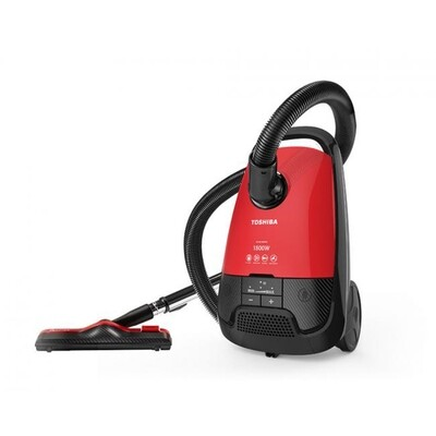 TOSHIBA Vacuum Cleaner 1800 Watt In Red x Black Color With HEPA Filter and Dusting Brush VC-EA1800SE مكنسة توشيبا 1800 وات