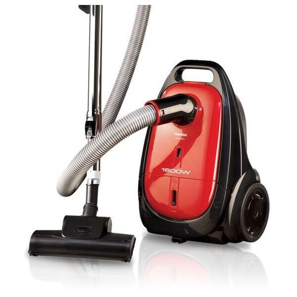 TOSHIBA Vacuum Cleaner 1600 Watt In Red Or Blue Color With Upholstery and Dusting Brush VC-EA100 مكنسة كهربائية توشيبا 1600 وات لون أحمر أو أزرق مزودة بفرشاة للستائر و الغبار