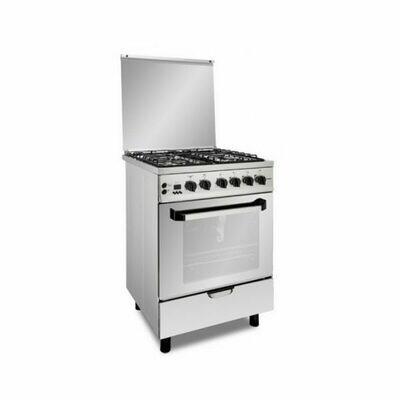 Fresh Gas Cooker  4 Burners 60X60 - Safety With Fan  PLAZA CAST  فرن فريش 4 شعلة بلازا 60 سم - استيل - بالمروحة