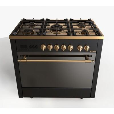 Fresh Gas Cooker Semi-BuiltIn 5 Burners- Timer for Gas Stopping With Fan Digital Gold PROFSSIONAL فرن فريش 5 شعلة بروفيشنال 60*90 روستك جولد - امان كامل - بالمروحة