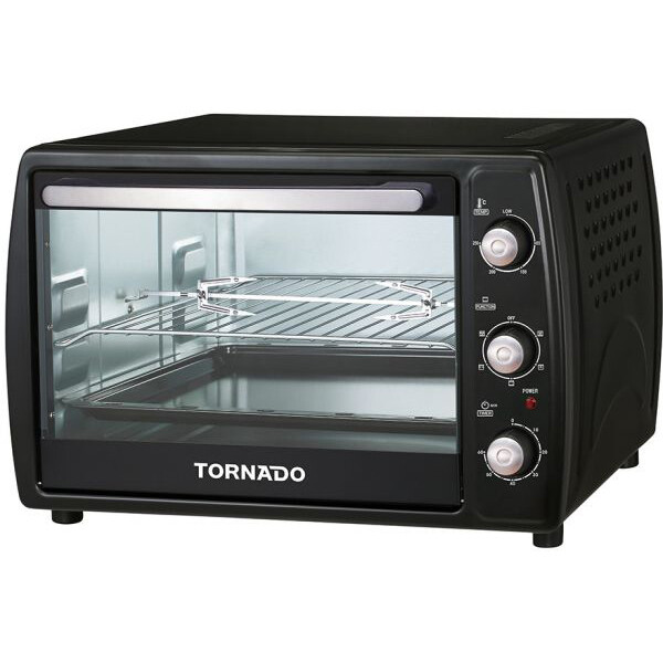 TORNADO Electric Oven 45 litre , 1800 Watt in Black Color With Grill and Fan EOY-Z45BAE-BK فرن كهربائي تورنيدو سعة 45 لتر ، 1800 وات لون أسود مزود بشواية ، مروحة