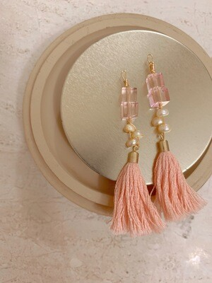 Peach Blush Pearl & Tassel Earrings