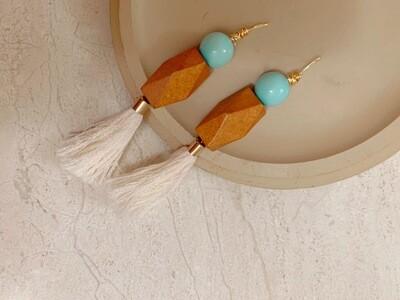 Turquoise, Wood & Tassel Earring