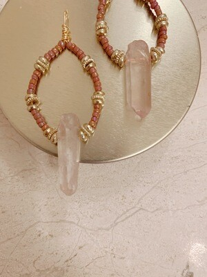 Rose Quartz Hoop Earring