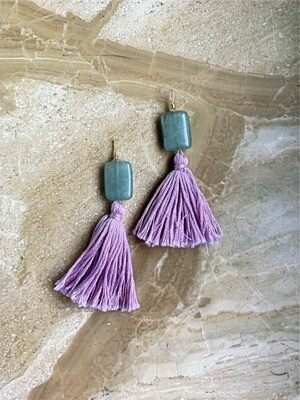 Sage & Lavender Tassel Earrings