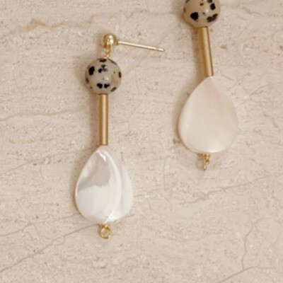 Dalmation Stone & Mother Of Pearl Drop Earrings