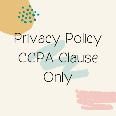 Privacy Policy CCPA Clause Only