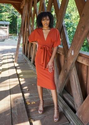 HYFVE Deep V Keyhole Pencil Dress - Rustic Brown