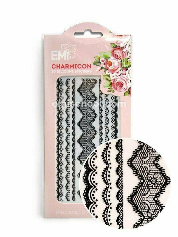 Charmicon 3D Silicone Stickers Lace Black