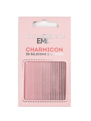 Charmicon 3D Silicone Stickers #118 Lines Silver