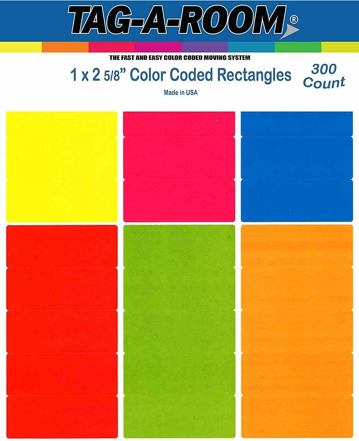 Tag-A-Room 1 x 2 5/8 Inch Rectangle Color Coding Mailing Address Labels, 6 Bright Colors, 8 1/2