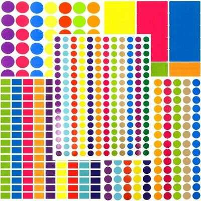 Tag-A-Room Round and Rectangle Color Coding Circle Dot Labels, Variety Size Sticker Pack, 8 1/2