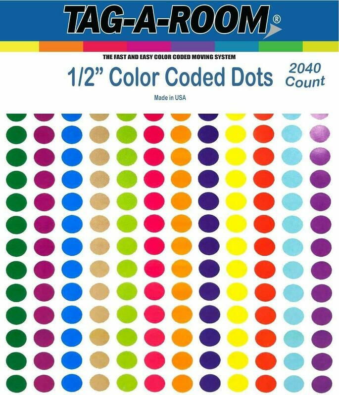 Tag-A-Room 1/2 Inch Round Color Coding Circle Dot Sticker Labels, 12 Bright Colors, 8 1/2
