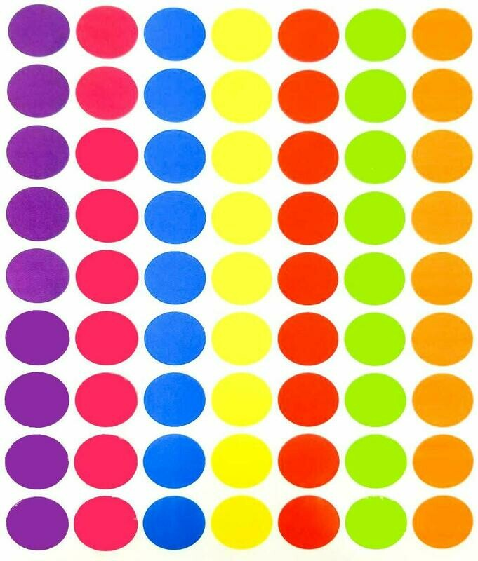 Tag-A-Room 1 Inch Round Color Coding Circle Dot Label Stickers, 7 Bright Colors, 8 1/2