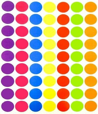 Tag-A-Room 1 Inch Round Color Coding Circle Dot Sticker Labels, 7 Bright Colors, 8 1/2