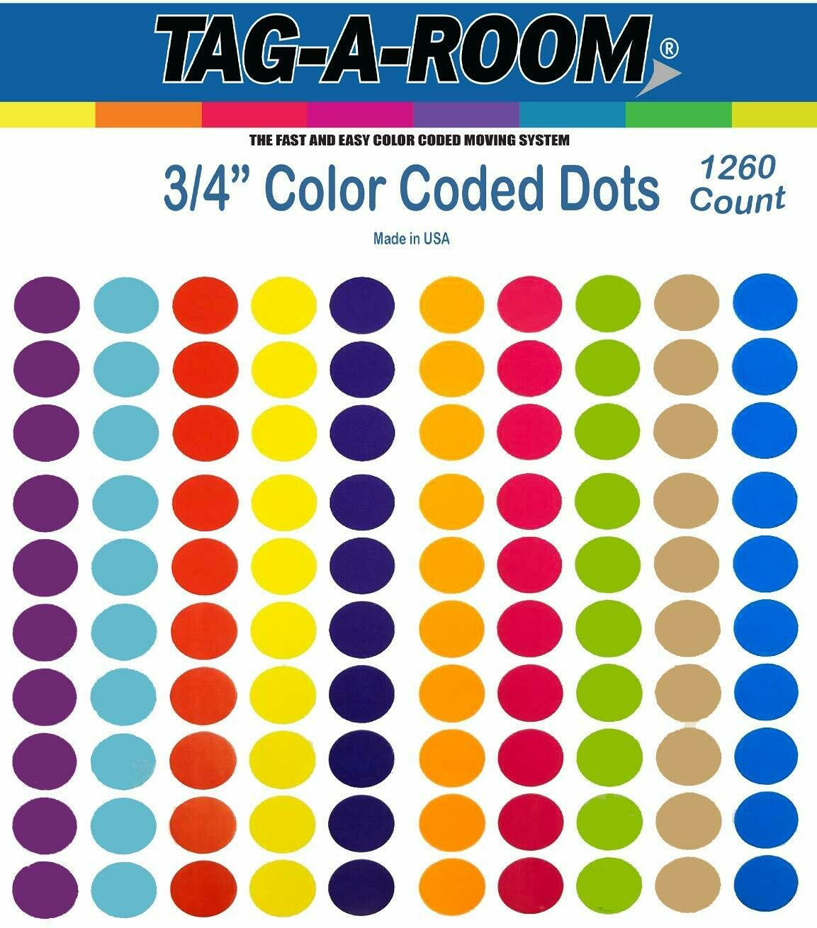 Tag-A-Room 3/4 Inch Round Color Coding Circle Dot Label Stickers, 10 Bright Colors, 8 1/2