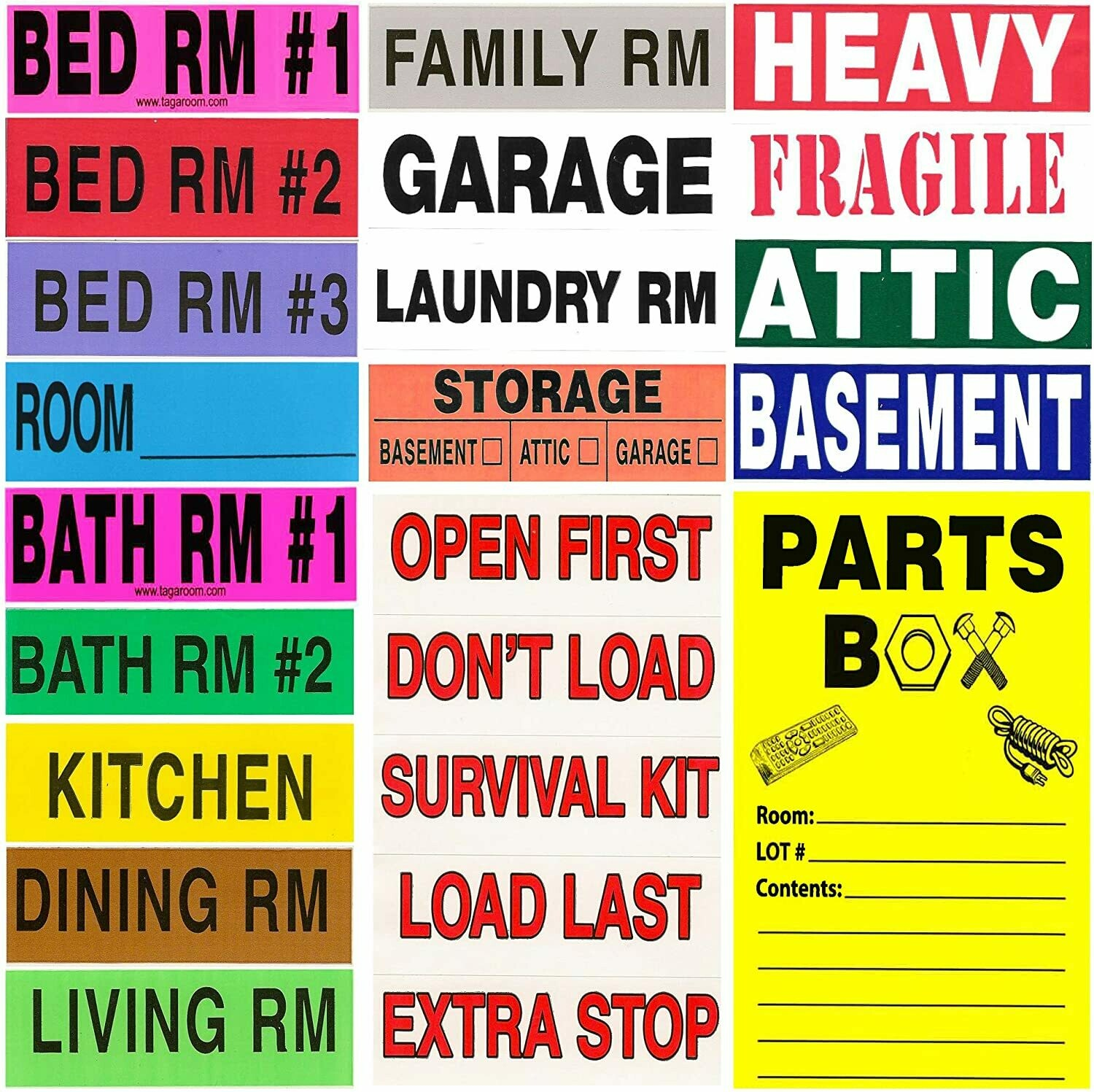 Tag-A-Room Color Coding Home Moving Labels 950 Count with Bonus Parts Box Labels