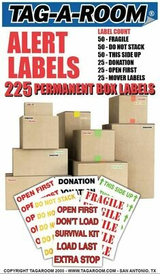 Tag-A-Room Alert Moving Labels, Color Coded Box Moving Supplies, 225 Pack