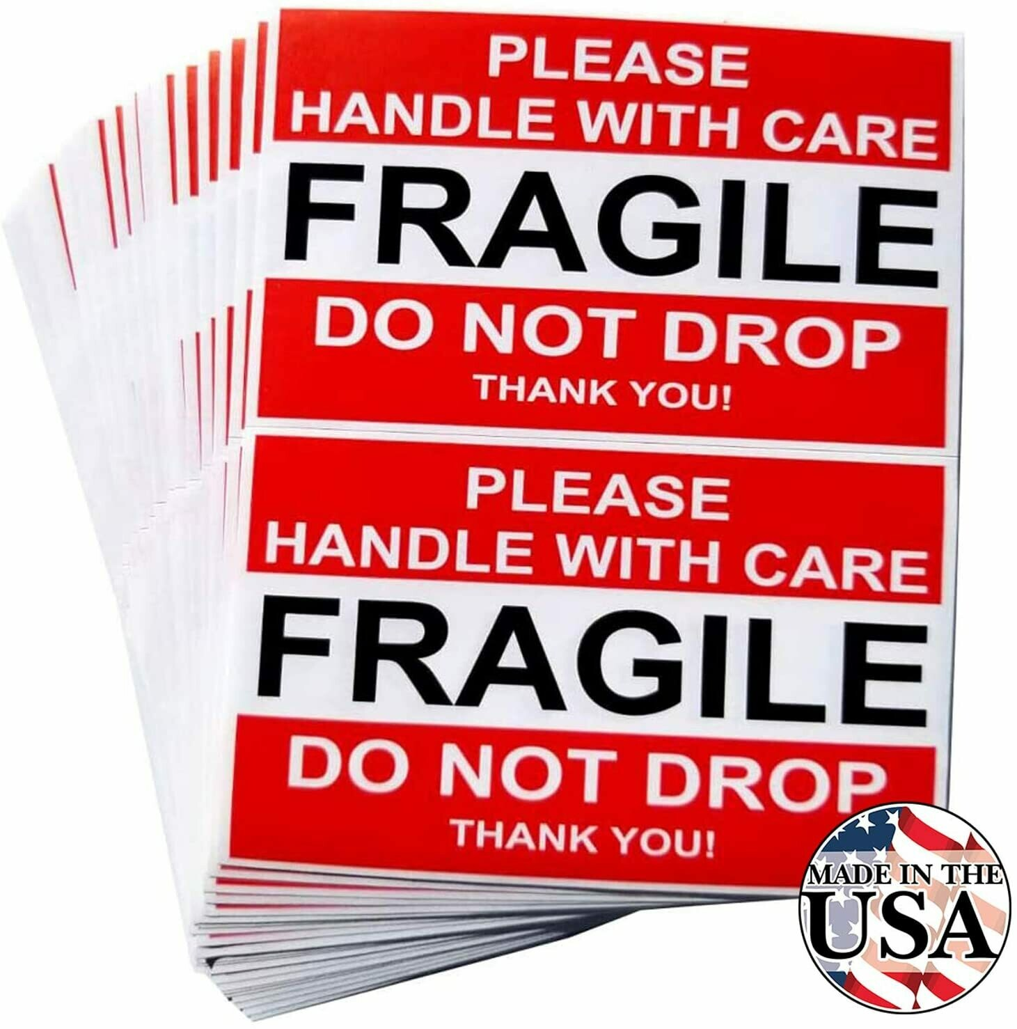 Fragile (Red) : Please Handle With Care - 50 Count